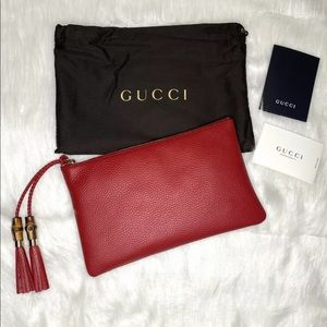 GUCCI Bamboo Red Small Clutch Pouch Zip Around NWT